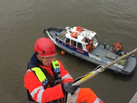 Rope Acess team at work with Watch Dog on safety boat duty